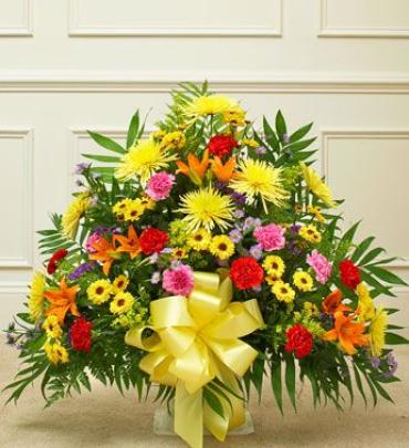 Bright Heartfelt Tribute Basket Arrangement