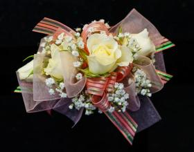Four White Rose Corsage