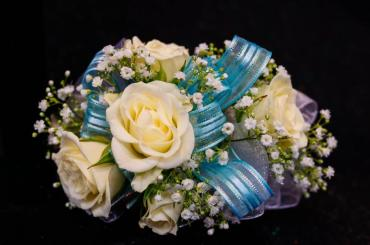 Five White Rose Corsage