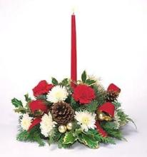 Holiday Shimmer Centerpiece - Single Candle